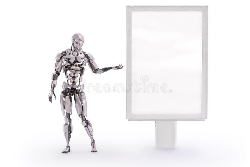 Robô que aponta em um modelo vazio do quadro de avisos ou do suporte de propaganda ilustração 3D ilustração do vetor