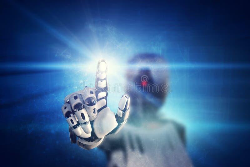 Robô que clica no botão leve virtual ilustração royalty free