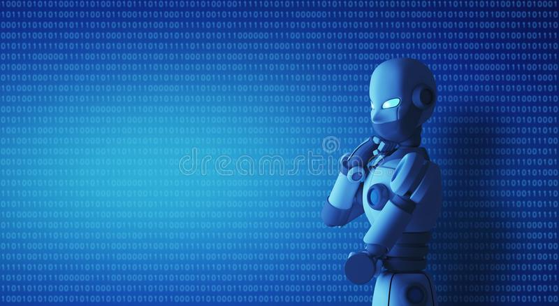Robô que está e que pensa na sala de comando com um código binário ilustração royalty free