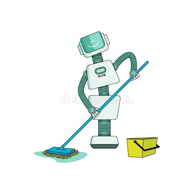 Robô que faz trabalhos domésticos na casa da limpeza - assoalho de lavagem com o espanador molhado isolado no fundo branco ilustração royalty free