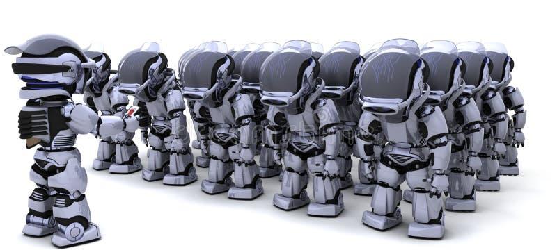 Robô que fecha o exército dos robôs ilustração do vetor