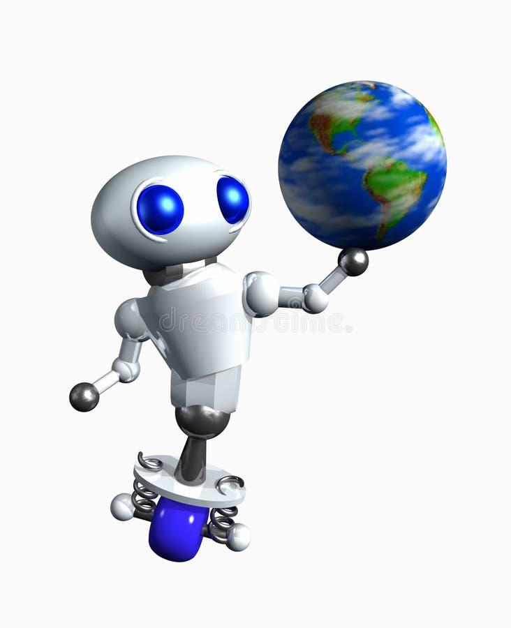 Robô que gira um globo ilustração royalty free