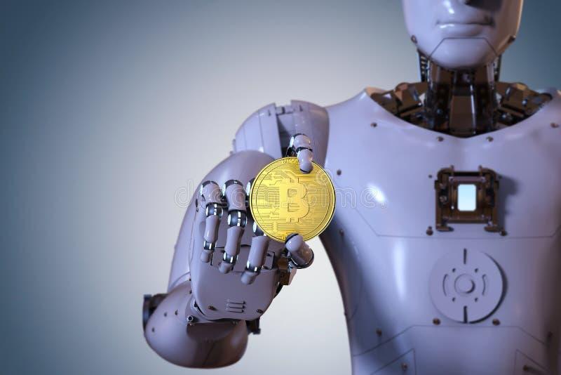 Robô que guarda o bitcoin do ouro imagens de stock