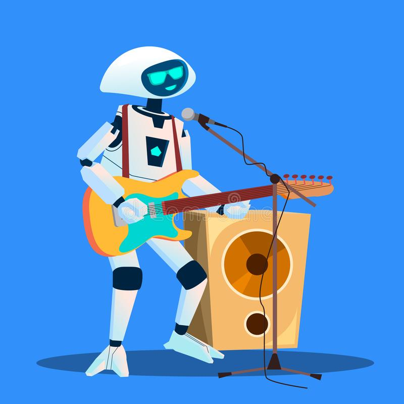 Robô que joga a guitarra e que canta o vetor Ilustração isolada ilustração royalty free