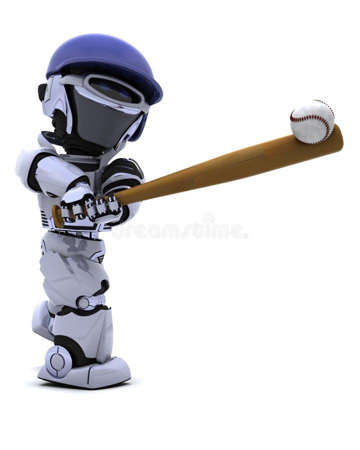 Robô que joga o basebol ilustração stock