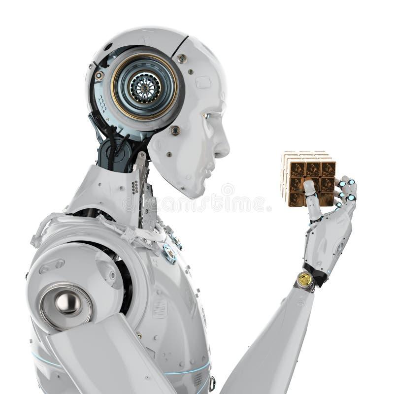Robô que joga o cubo imagens de stock