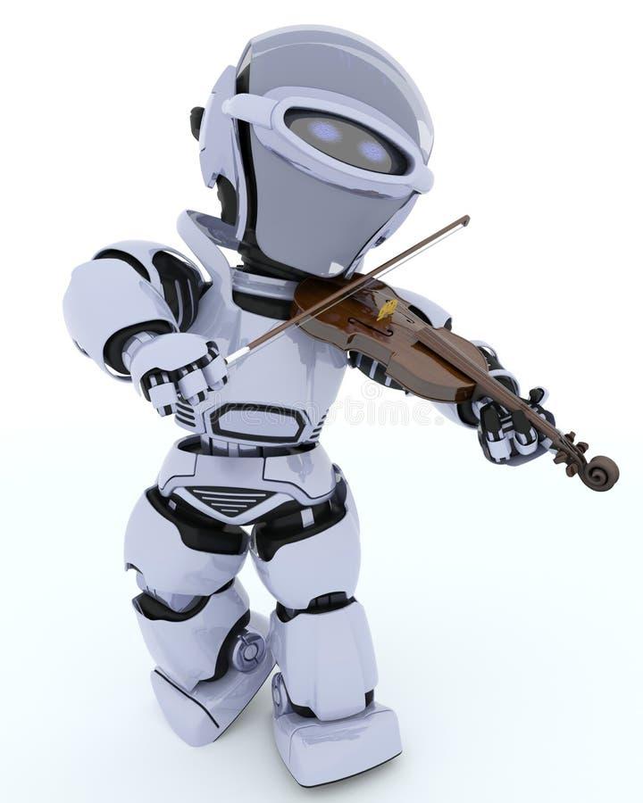 Robô que joga o violino ilustração stock