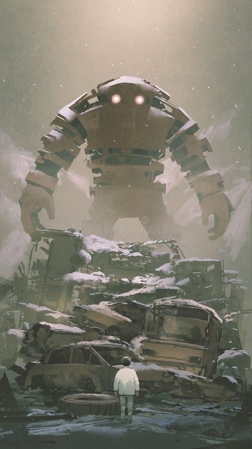 Robô que olha o menino abaixo ilustração do vetor