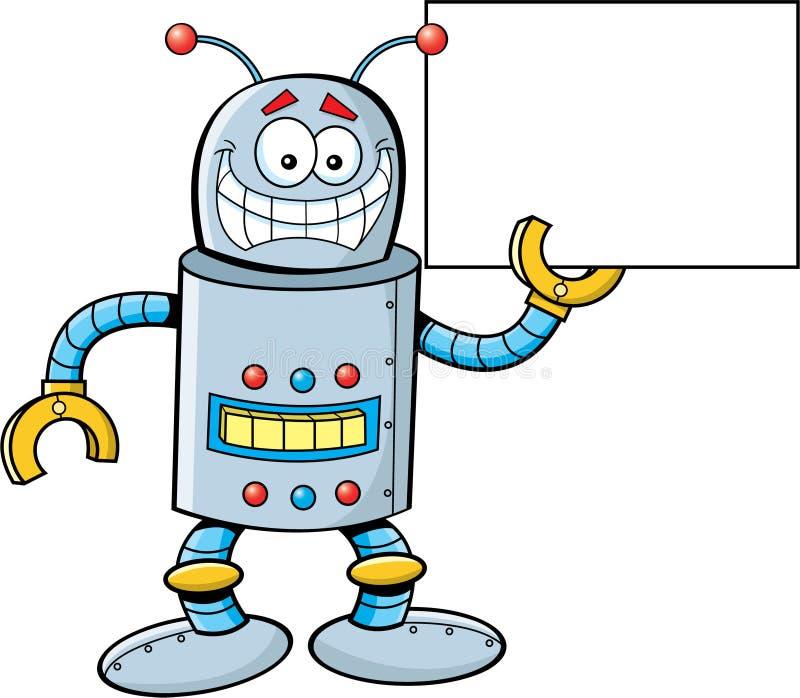 Robô que prende um sinal ilustração stock