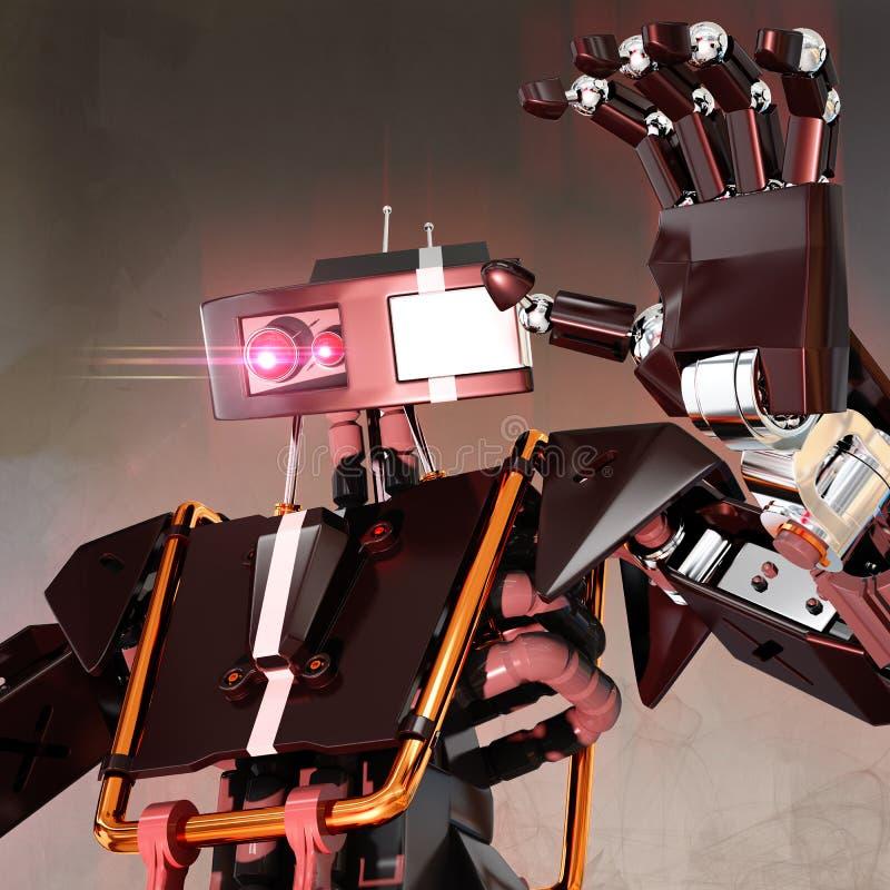 Robô que representa a inteligência artificial má ilustração royalty free