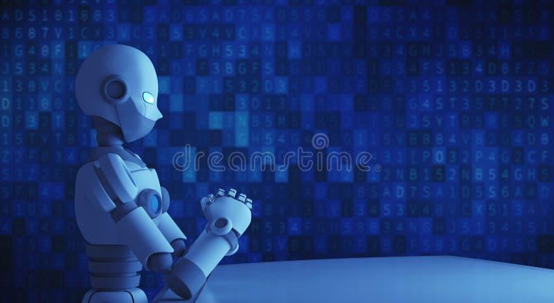 Robô que senta-se na frente da tabela vazia com o código de dados, artificial ilustração royalty free