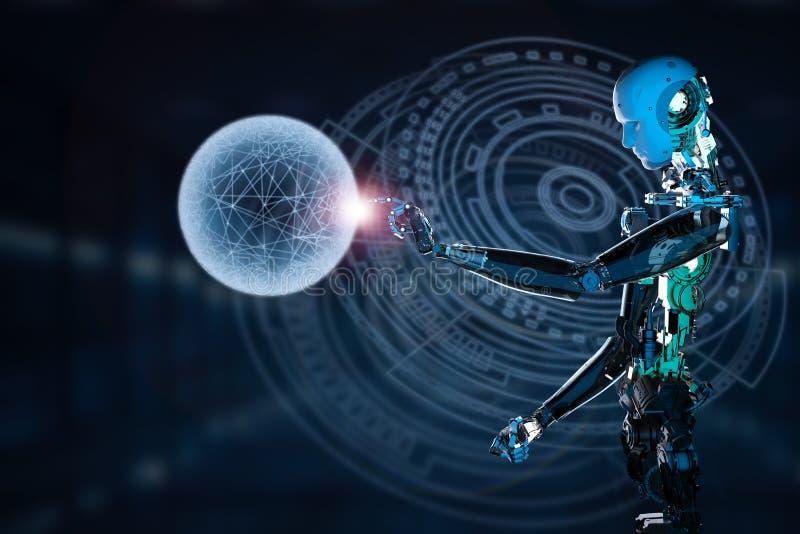 Robô que trabalha com exposição virtual fotos de stock royalty free