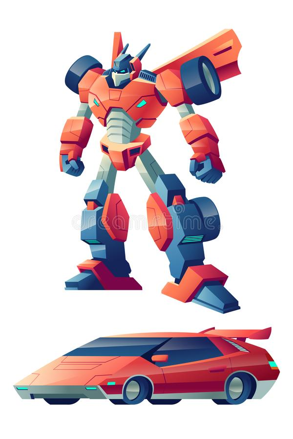 Robô que transforma no vetor dos desenhos animados do carro desportivo ilustração do vetor