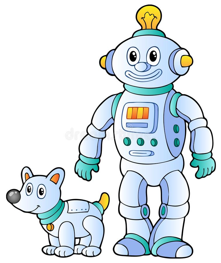 Robô retro 2 dos desenhos animados ilustração stock