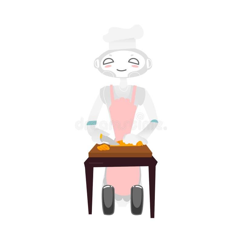 Robô rodado no chapéu do cozinheiro chefe e avental que cozinha o alimento ilustração stock