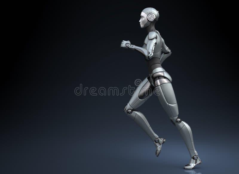 Robô running no fundo escuro ilustração stock