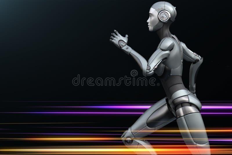 Robô running no fundo escuro ilustração royalty free