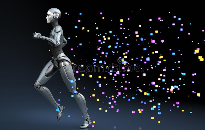 Robô running que sae de um traço de pixéis ilustração do vetor