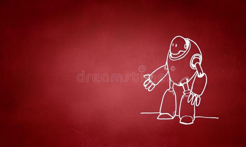 Robô tirado mão ilustração do vetor