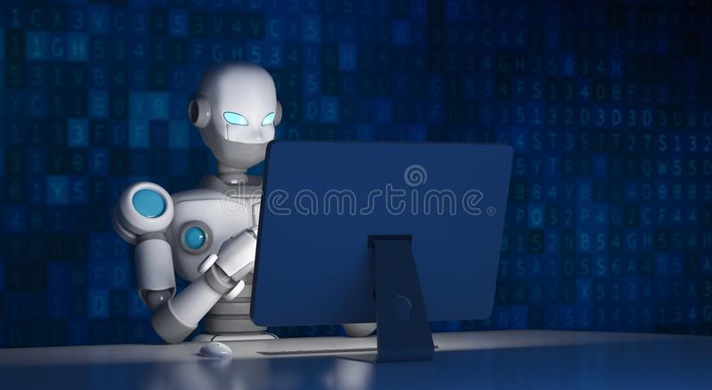 Robô usando um computador com código de dados, inteligência artificial ilustração stock