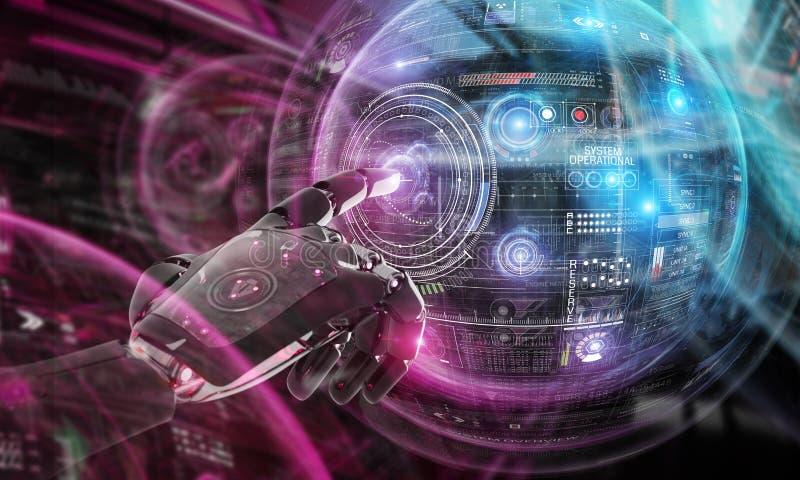 Robô vermelho que corta uma rendição da relação de sistema 3D do globo ilustração stock