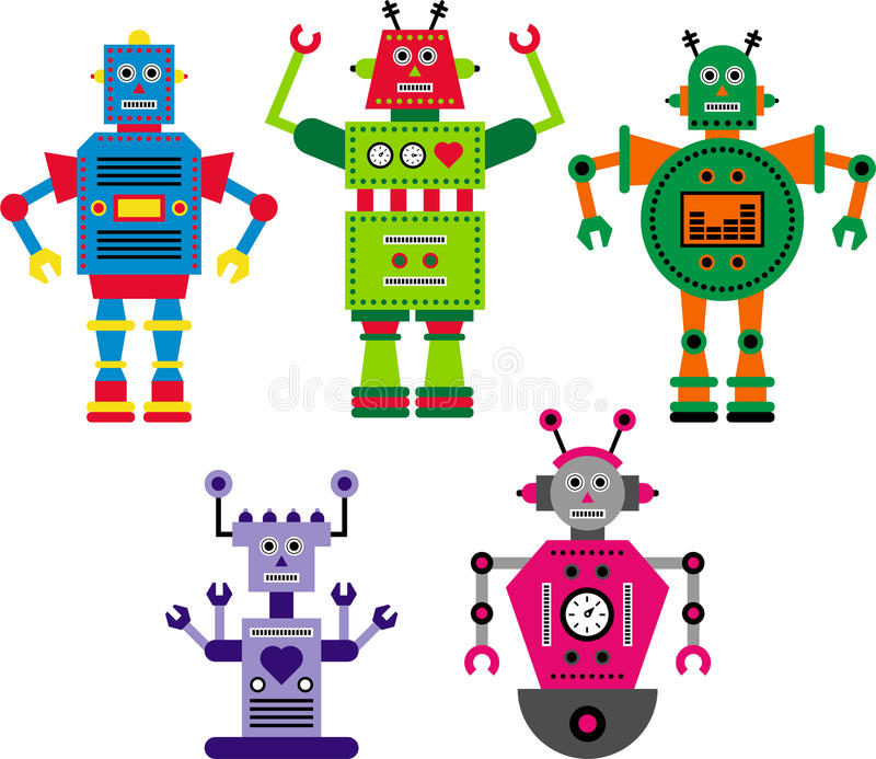 Robôs abstratos ilustração stock