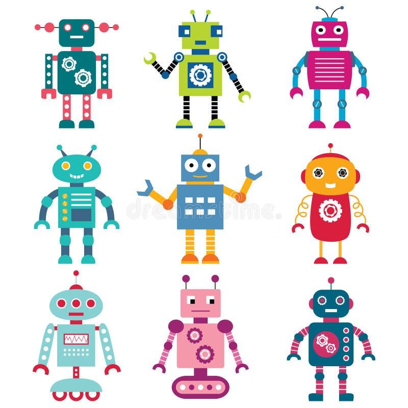 Robôs ajustados ilustração royalty free