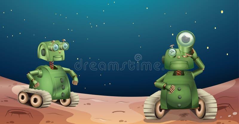Robôs alienígenas do planeta ilustração royalty free