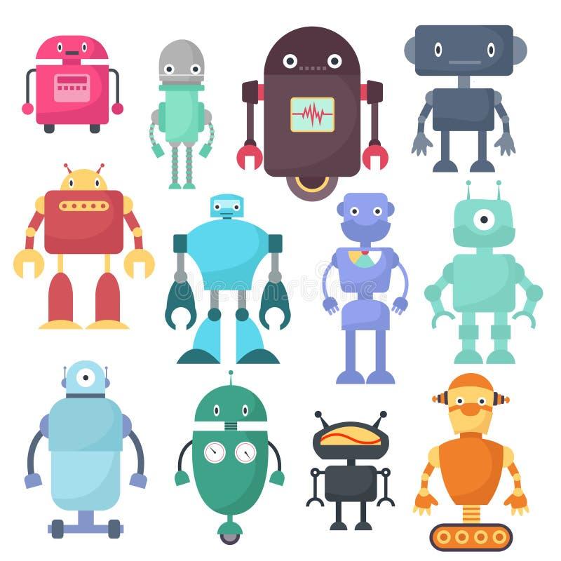 Robôs bonitos, caráteres da ciência do vetor da máquina do cyborg ilustração royalty free