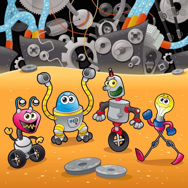 Robôs com fundo. ilustração do vetor