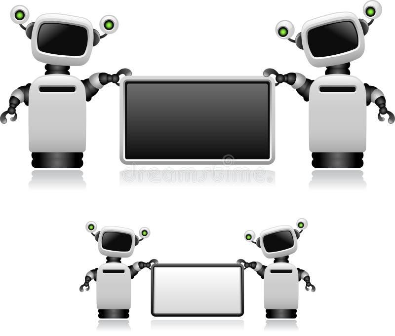 Robôs com sinal ilustração do vetor