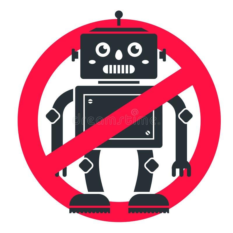 Robôs da proibição o sinal cruza para fora o futuro medo ilustração royalty free
