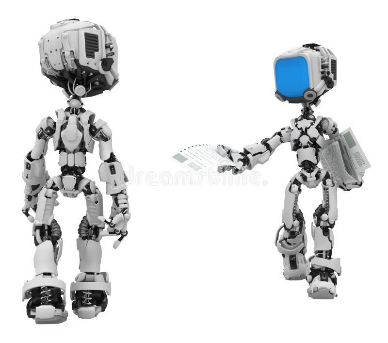 Robôs da tela azul, comunicado ilustração royalty free
