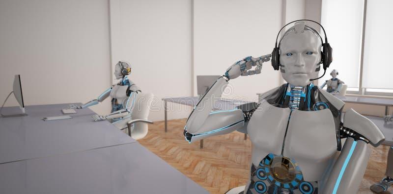 Robôs de Chatbots Callcenter ilustração royalty free
