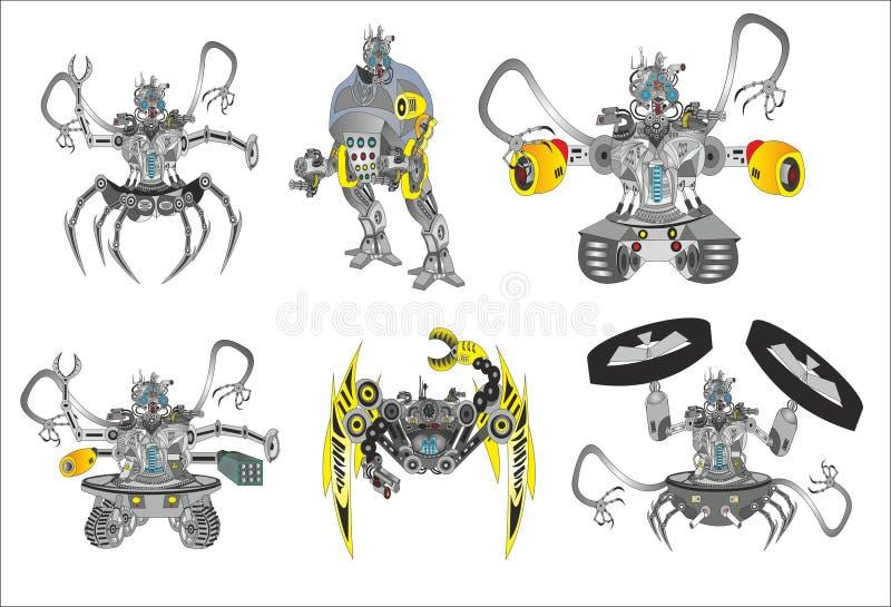 Robôs do assassino da arma ilustração royalty free