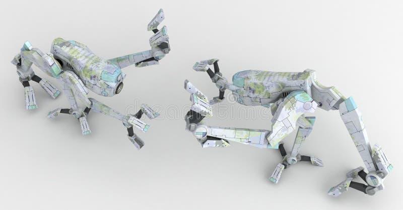 Robôs do caminhante, lutando ilustração do vetor