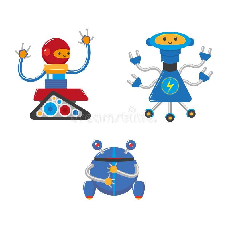 Robôs masculinos engraçados dos desenhos animados lisos do vetor ajustados ilustração royalty free