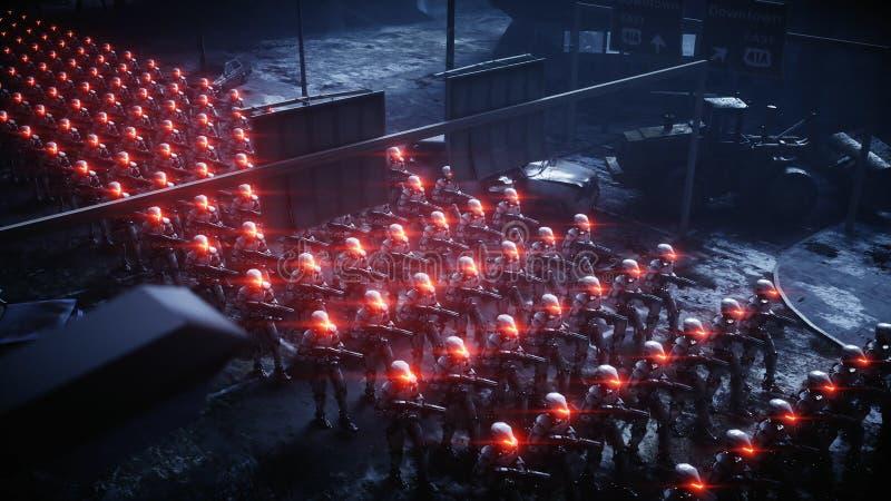 Robôs militares de passeio Invasão de robôs militares Conceito realístico super do apocalipse dramático futuro rendição 3d ilustração do vetor