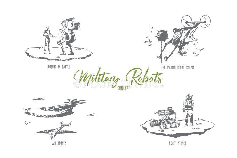 Robôs militares - robôs na batalha, sapper subaquático, ataque do roket, grupo do conceito do vetor dos zangões do ar ilustração royalty free