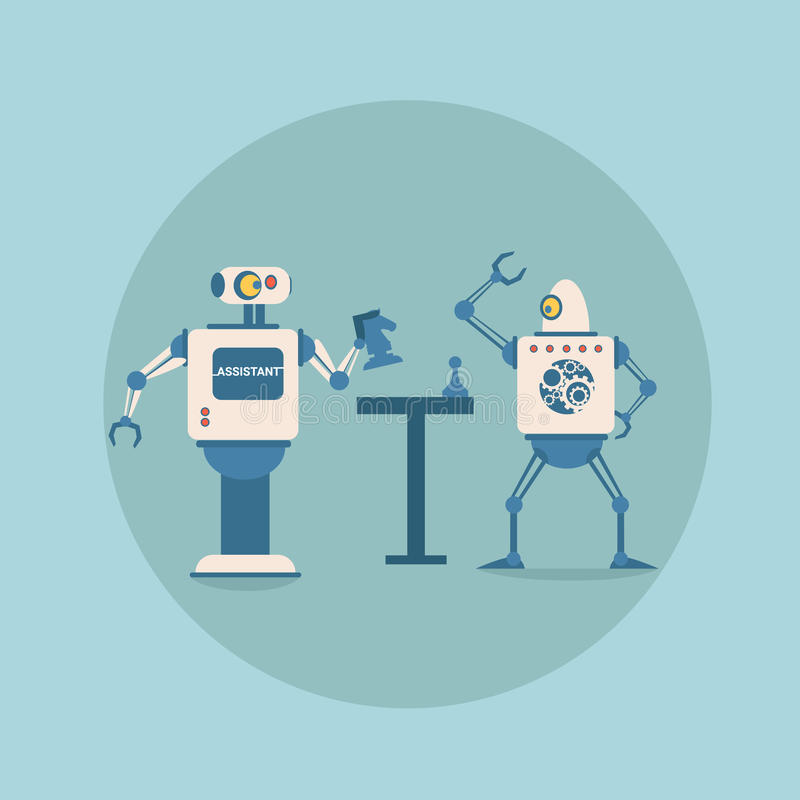 Robôs modernos que jogam a tecnologia futurista do mecanismo da inteligência artificial da xadrez ilustração royalty free