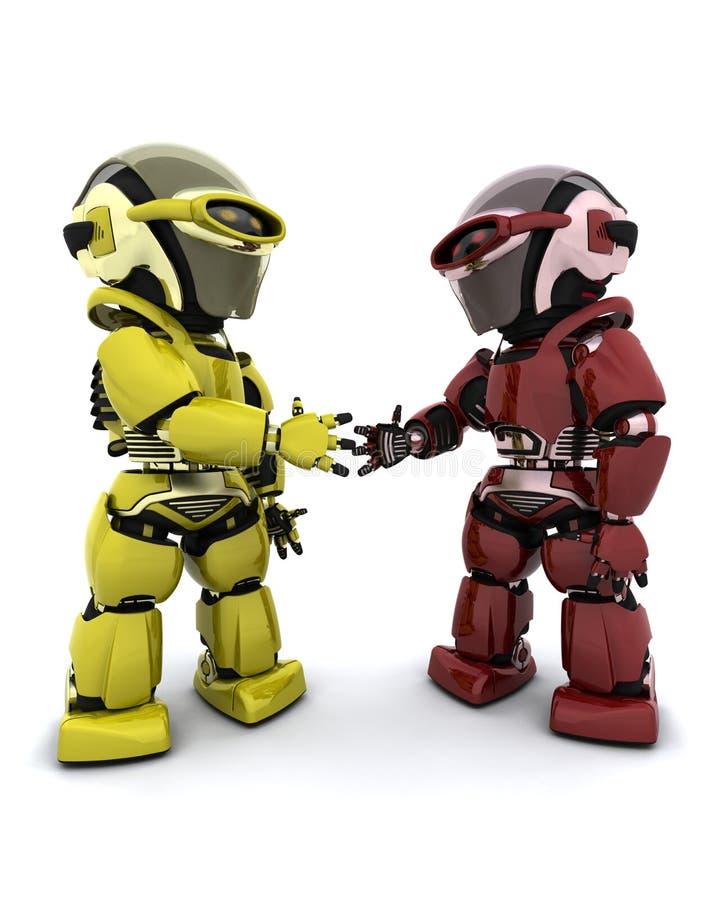 Robôs no acordo ilustração stock