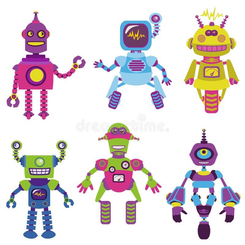 Robôs pequenos bonitos ilustração do vetor