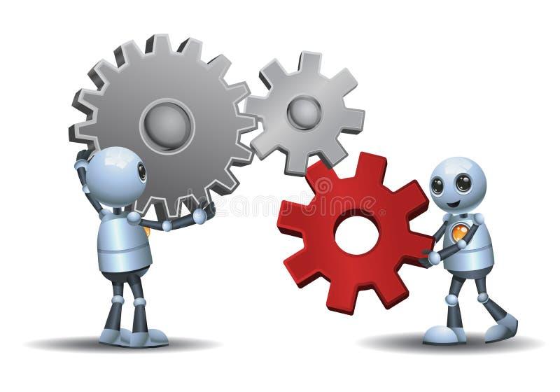 Robôs pequenos que conectam as engrenagens ilustração stock