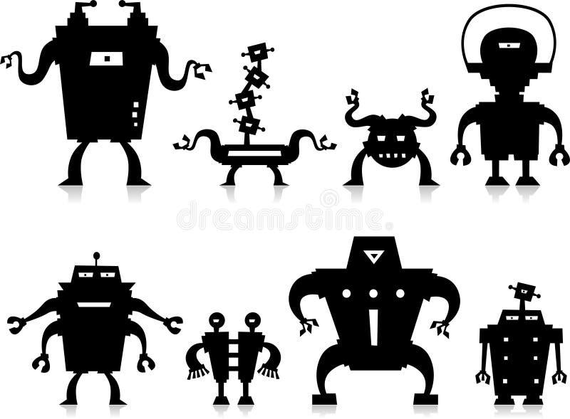 Robôs pretos ilustração stock