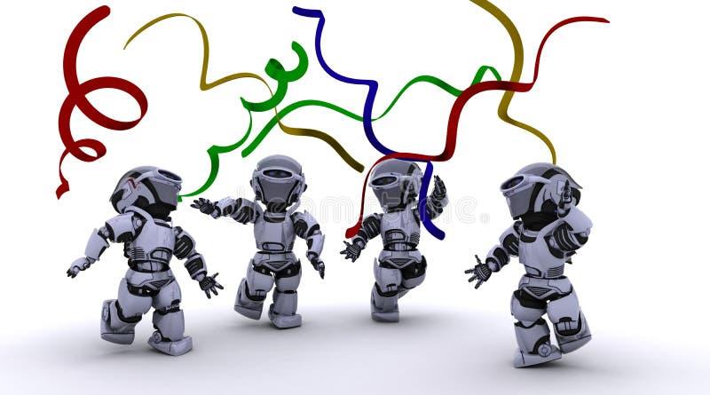 Robôs que comemoram em um partido ilustração royalty free