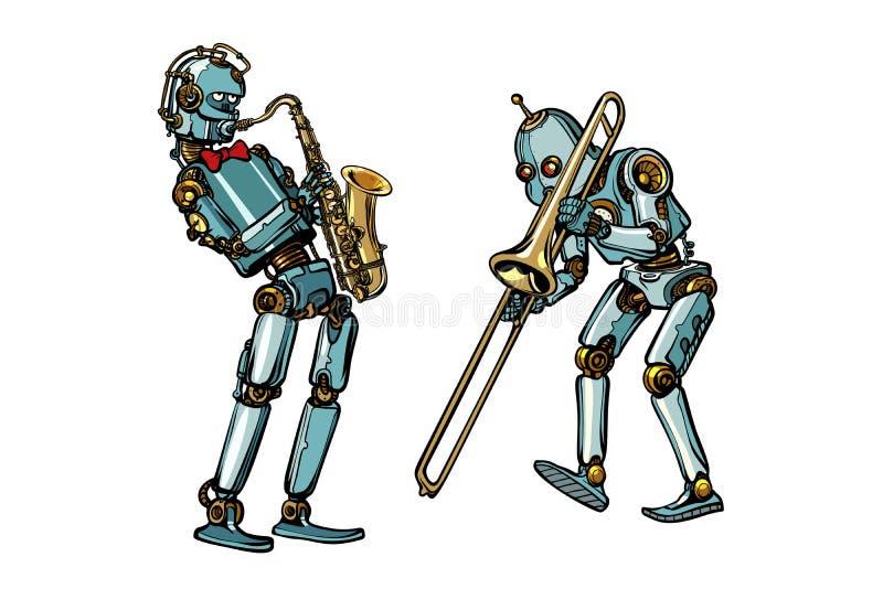 Robôs, saxofone e trombone dos músicos de banda filarmônica ilustração do vetor
