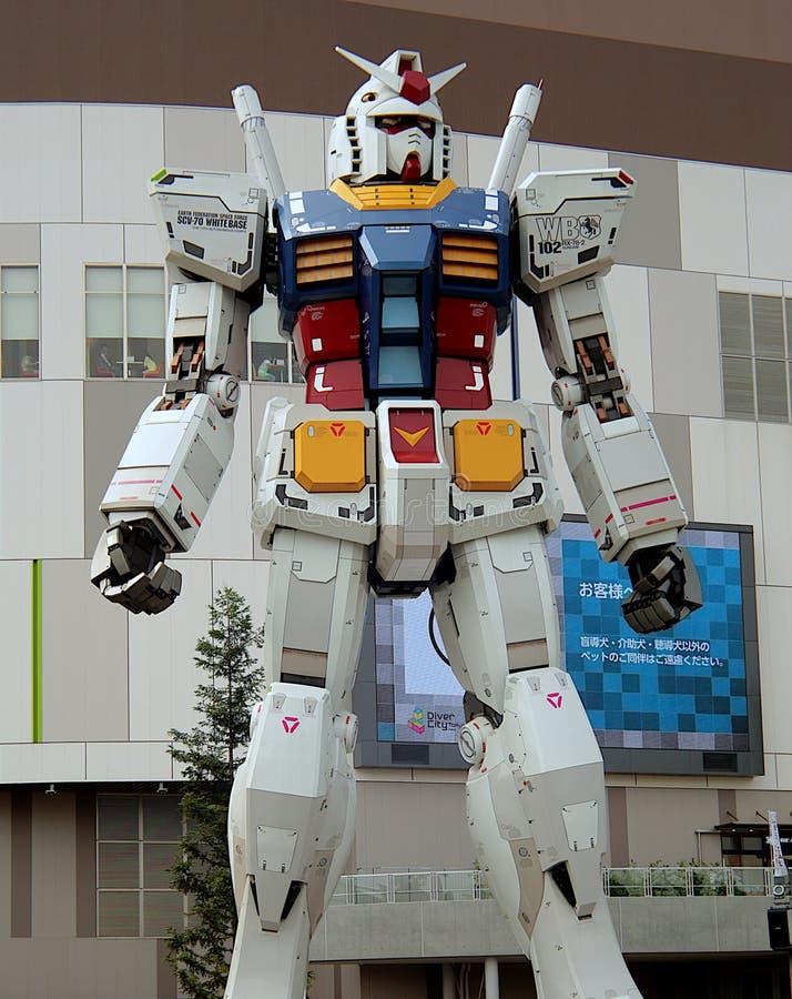Robô animado japonês gigante, o Gundam RX78 imagens de stock royalty free