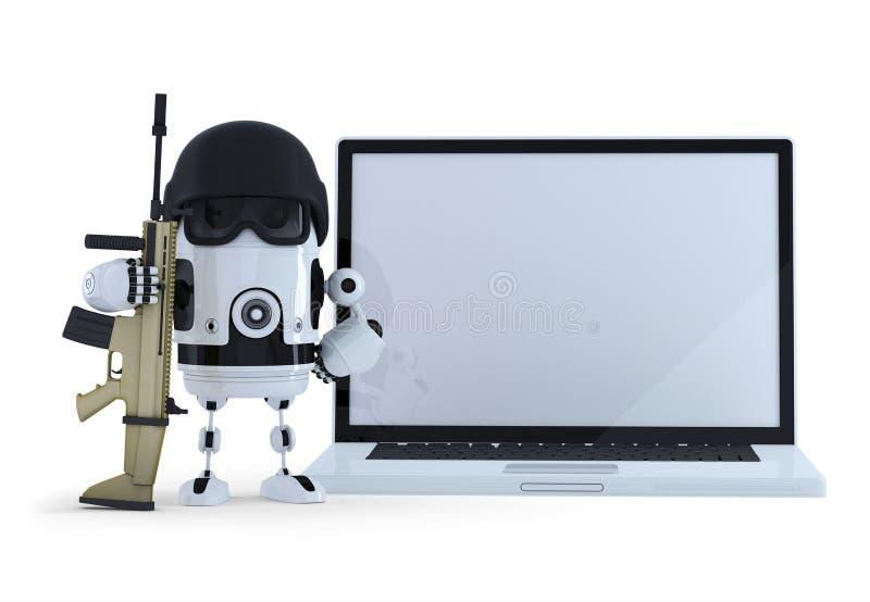 Robô armado com o portátil da tela vazia Conceito da proteção de Thechology Contém o trajeto de grampeamento do sc inteiro da cen ilustração royalty free