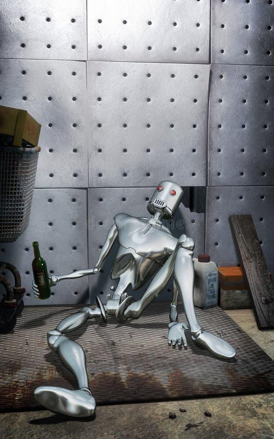 Robô bêbado abandonado ilustração royalty free