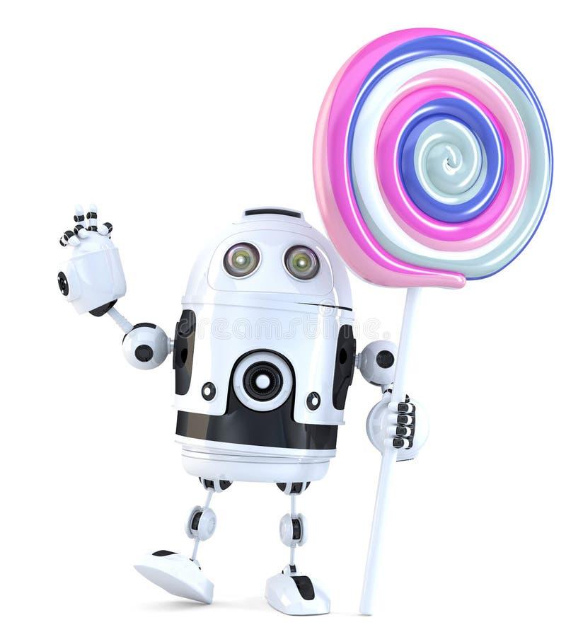 Robô bonito com pirulito Conceito da tecnologia ilustração 3D ilustração do vetor